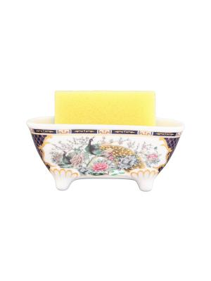 Подставка для губки Павлин на золоте Elan Gallery. Цвет: белый, синий
