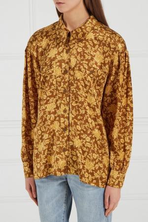 Шелковая блузка с принтом (80-е) Escada by Margaretha Ley Vintage. Цвет: желтый