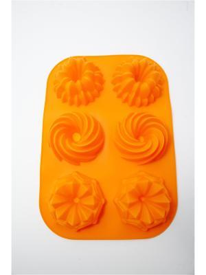 Форма для выпечки силиконовая, 6 ячеек, 33х23х4,6см Узоры Vetta. Цвет: оранжевый