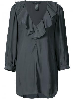 Блузка с V-образным вырезом и рюшами Smythe. Цвет: серый