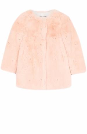 Шуба из меха кролика с бусинами Yves Salomon Enfant. Цвет: светло-розовый