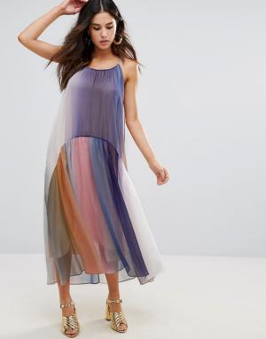 Little White Lies Разноцветное плиссированное платье. Цвет: мульти