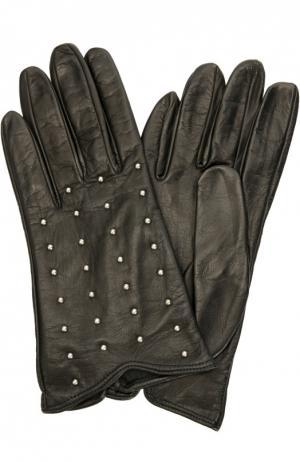 Кожаные перчатки с заклепками Sermoneta Gloves. Цвет: черный