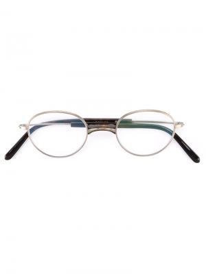 Классические очки с круглой оправой Masunaga. Цвет: металлический