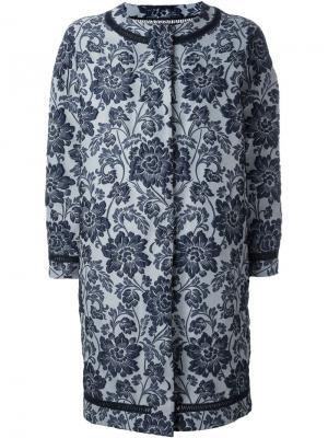 Пальто из парчи Ermanno Scervino. Цвет: синий