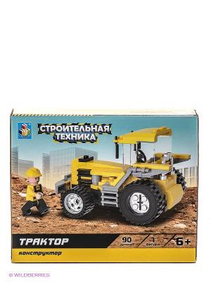 Конструктор Строительная техника. Трактор (90 деталей) 1Toy. Цвет: желтый