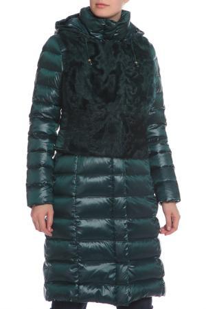 Полуприлегающее пальто с натуральным мехом Acasta. Цвет: зеленый