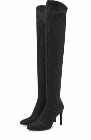 Кожаные ботфорты из металлизированного текстиля Giuseppe Zanotti Design. Цвет: черный