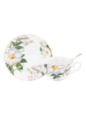 Чайная пара Белый шиповник Elan Gallery. Цвет: белый,зеленый