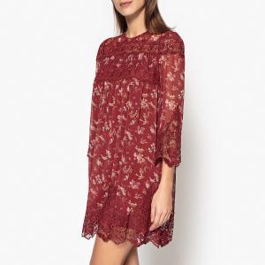 Блузка длинная с круглым вырезом, принтом и длинными рукавами THE KOOPLES. Цвет: бордовый