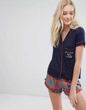 Chelsea Peers Рождественский пижамный комплект с шортами в клетку. Цвет: мульти
