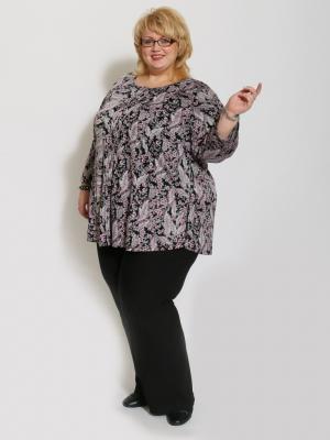 Блузка Марта EVGENIA STYLE. Цвет: черный, сиреневый, темно-серый