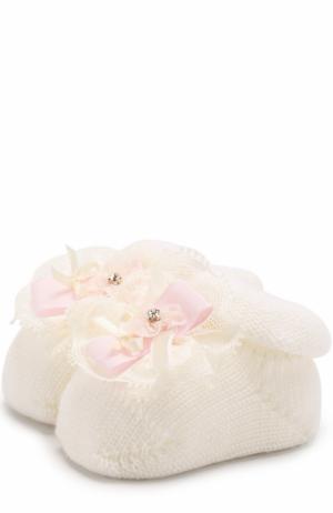 Вязаные носки с декором Catya. Цвет: белый