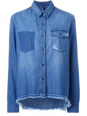 Рубашка с неравномерным подолом Nobody Denim. Цвет: синий