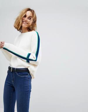Vero Moda Трикотажный джемпер с рукавами колор блок. Цвет: кремовый