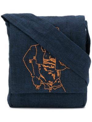 Сумка на плечо с декоративной строчкой Bernhard Willhelm. Цвет: синий