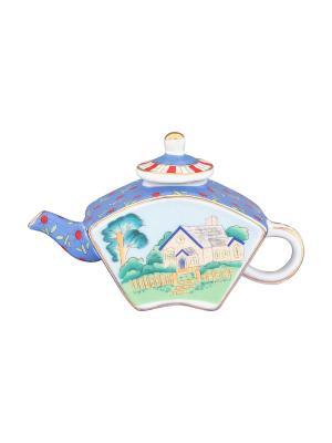 Сувенир-чайник Домик в деревне Elan Gallery. Цвет: голубой, зеленый