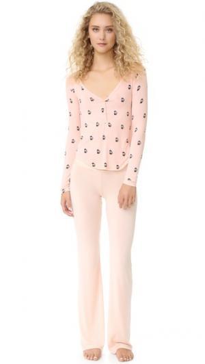 Пижама с изображениями кофейников Wildfox. Цвет: персиковый