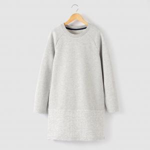 Платье из мольтона, 10-16 лет R essentiel. Цвет: серый меланж