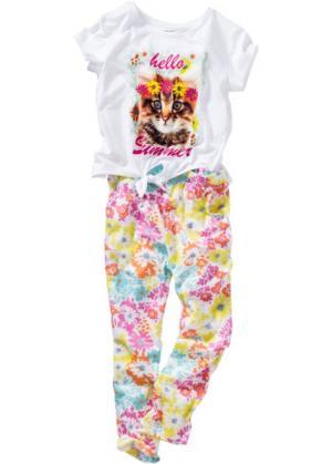 Футболка и брюки (2 изделия) (белый/различные расцветки с принтом) bonprix. Цвет: белый/различные расцветки с принтом