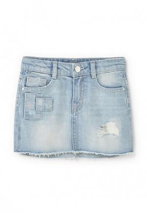 Юбка джинсовая Mango Kids. Цвет: голубой