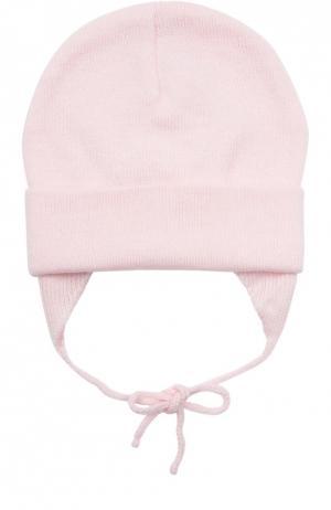 Вязаная шапка из шерсти Il Trenino. Цвет: розовый