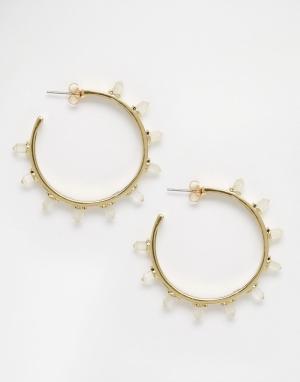 House of Harlow Серьги-кольца с отделкой из кристаллов. Цвет: золотой