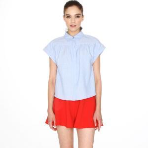 Блузка с короткими рукавами PEPALOVES. Цвет: голубой