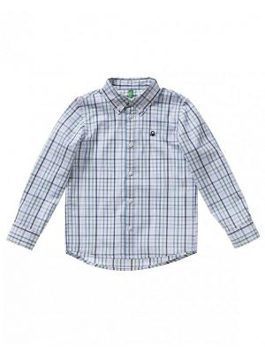 Рубашка United Colors of Benetton. Цвет: серебристый, сиреневый, светло-серый