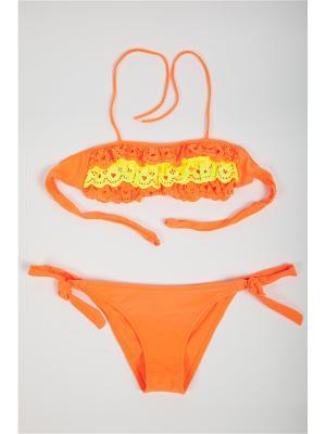 Купальник детский для девочек La Pastel. Цвет: оранжевый, желтый