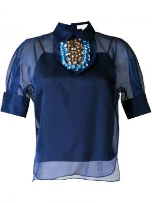 Декорированная  блузка Delpozo. Цвет: синий