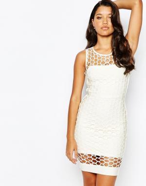 Forever Unique Облегающее платье-бандаж. Цвет: белый