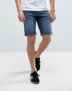 Produkt Джинсовые шорты с декоративными швами. Цвет: синий