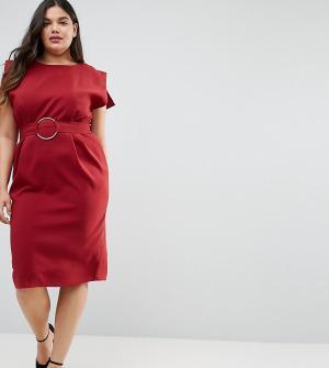 ASOS Curve Платье миди с короткими рукавами и кольцом на поясе. Цвет: красный