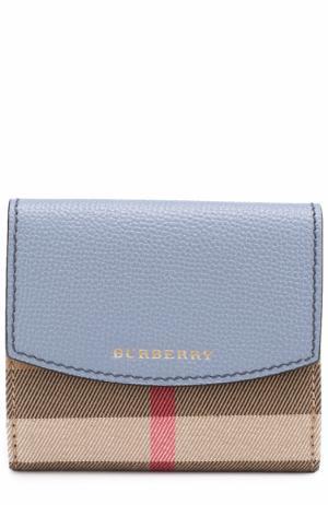 Бумажник из кожи и текстиля в клетку House Check Burberry. Цвет: синий