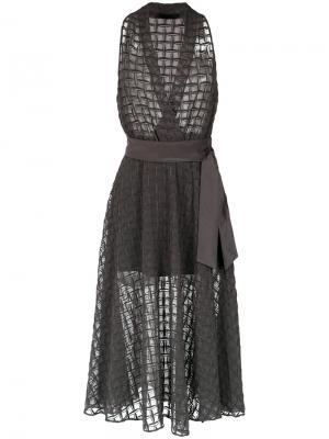 Silk sheer gown Giuliana Romanno. Цвет: серый