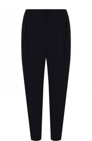 Однотонные укороченные брюки Escada. Цвет: темно-синий