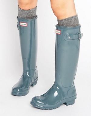 Hunter Блестящие резиновые сапоги Original Tall. Цвет: серый