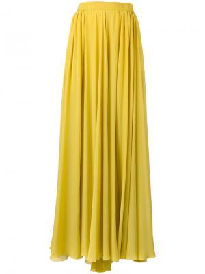 Длинная плиссированная юбка Elie Saab. Цвет: жёлтый и оранжевый