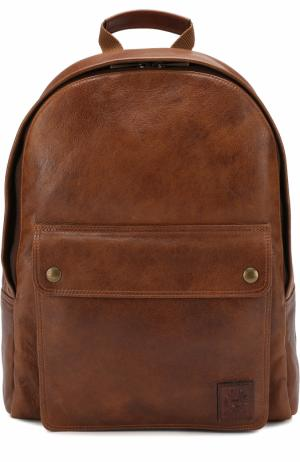Кожаный рюкзак с внешним карманом на кнопках Belstaff. Цвет: коричневый