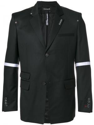 Пиджак с полосками на рукавах Icosae. Цвет: чёрный