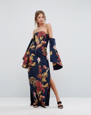 C/meo Collective Платье макси с принтом. Цвет: темно-синий