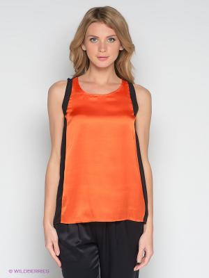 Топ Satin. Цвет: оранжевый, черный