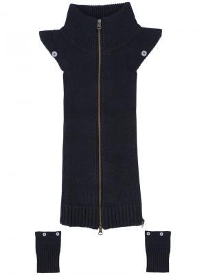 Комплект из манишки и манжетов Veronica Beard. Цвет: чёрный