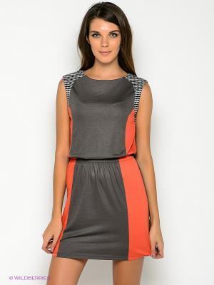 Платье Formalab. Цвет: серо-коричневый, красный