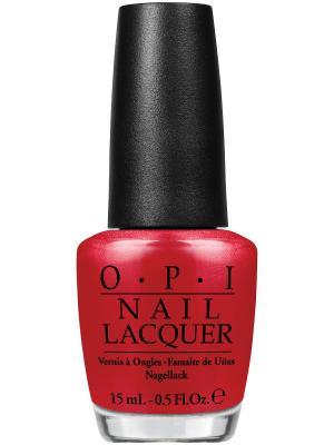Opi Лак для ногтей Red Hot Rio, 15 мл. Цвет: красный