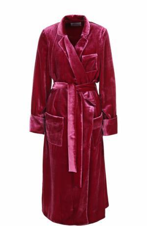 Бархатное удлиненное пальто с поясом Racil. Цвет: малиновый
