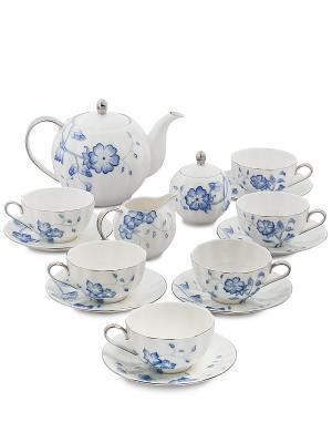 Чайный сервиз на 6 персон Голубая бабочка (Pavone) Pavone. Цвет: белый