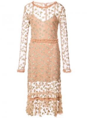 Платье с вышивкой бабочек For Love And Lemons. Цвет: телесный