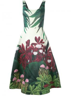 Платье с цветочным принтом Alice+Olivia. Цвет: зелёный